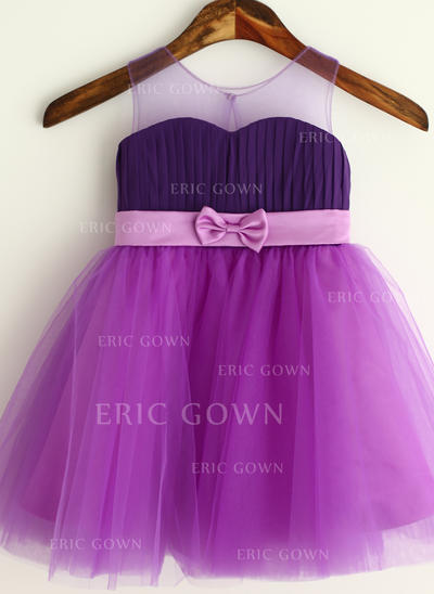 Delicate Strapless A-Line/Princess Flower Girl Dresses Knee-length Chiffon/Tulle Sleeveless (010196727)