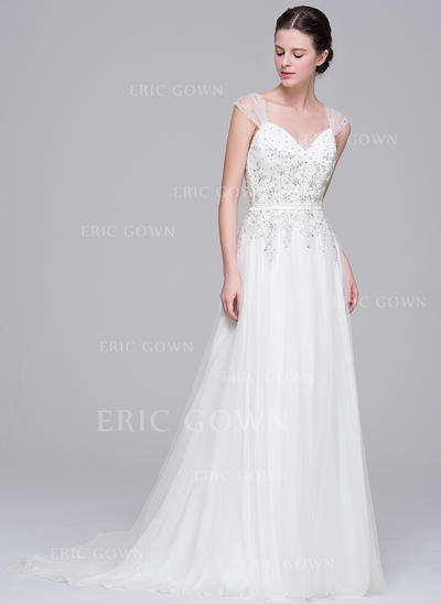 A-Line/Princess Sweetheart Sweep Train Wedding Dresses With Beading Appliques Lace Sequins (002210662)