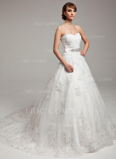 Ball-Gown Sweetheart Chapel Train Wedding Dresses With Beading Appliques Lace Bow(s) (002211441)
