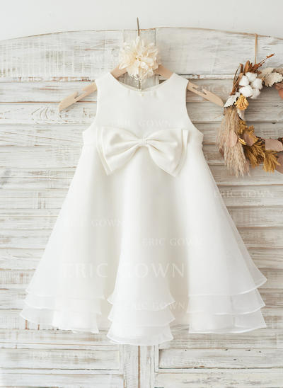 A-Line/Princess Knee-length Flower Girl Dress - Organza/Satin Sleeveless Scoop Neck With Bow(s) (010117695)