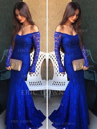Trumpet/Mermaid Lace Prom Dresses Off-the-Shoulder Long Sleeves Floor-Length (018210325)