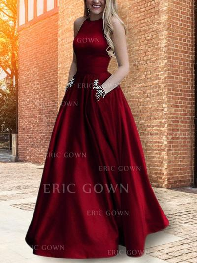 A-Line/Princess Scoop Neck Floor-Length Evening Dresses With Beading (017219193)