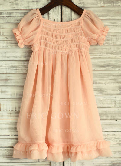Simple Square Neckline Empire Flower Girl Dresses Knee-length Chiffon Short Sleeves (010196718)