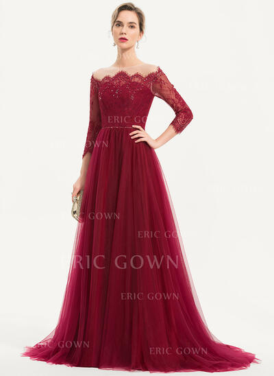 A-Line Off-the-Shoulder Sweep Train Tulle Evening Dress With Beading Sequins (017186120)