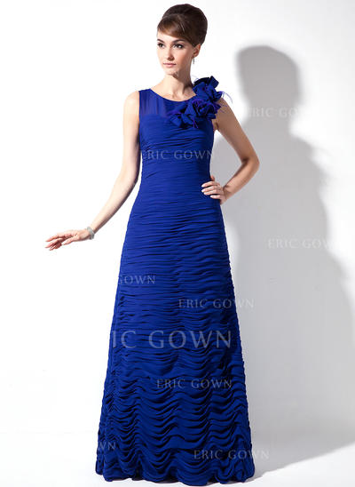 Sheath/Column Chiffon Sleeveless Scoop Neck Sweep Train Zipper Up Mother of the Bride Dresses (008006054)