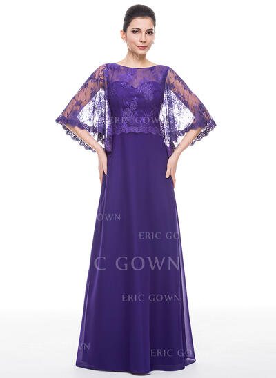 A-Line/Princess Scoop Neck Floor-Length Chiffon Lace Mother of the Bride Dress (008058404)