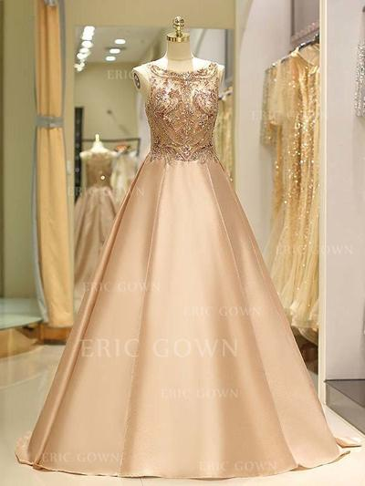 Ball-Gown Scoop Neck Sweep Train Prom Dresses With Beading (018219333)