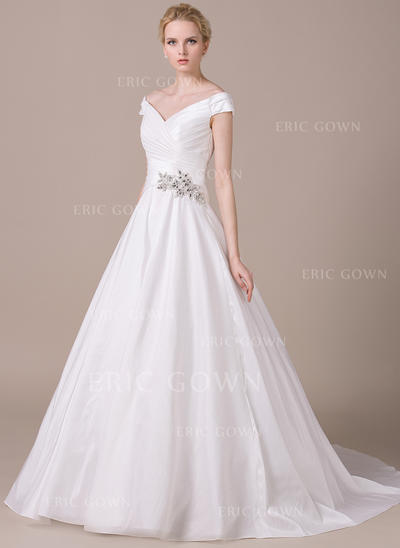 Glamorous Off-The-Shoulder Ball-Gown Wedding Dresses Chapel Train Taffeta Sleeveless (002210608)