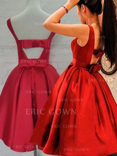 A-Line/Princess Scoop Neck Knee-Length Taffeta Homecoming Dresses With Ruffle Bow(s) (022212387)