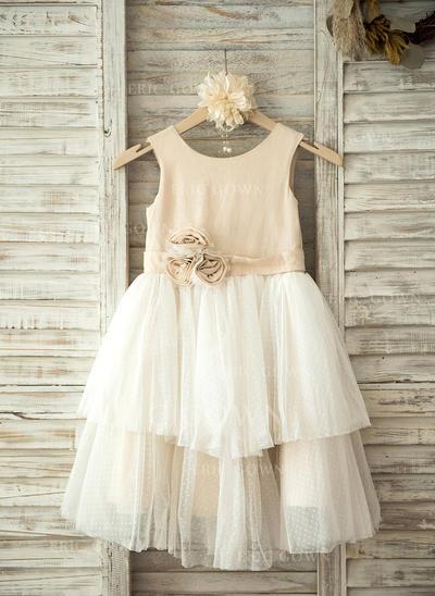 A-Line/Princess Knee-length Flower Girl Dress - Tulle Sleeveless Scoop Neck With Flower(s) (010093251)