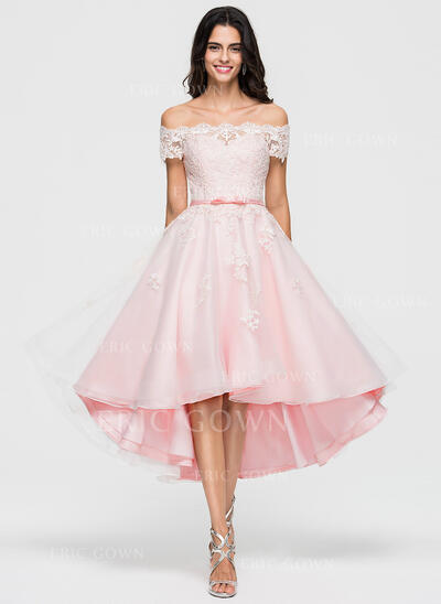 A-Line Off-the-Shoulder Asymmetrical Organza Cocktail Dress (016174083)