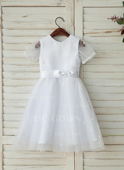 A-Line/Princess Tea-length Flower Girl Dress - Tulle Short Sleeves Scoop Neck With Sash (010125835)