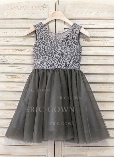 A-Line/Princess Knee-length Flower Girl Dress - Tulle/Lace Sleeveless Scoop Neck (010090972)