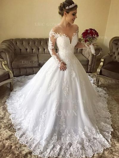 Ball-Gown Off-The-Shoulder Sweep Train Wedding Dresses With Lace (002218064)