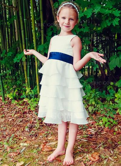 A-Line/Princess Tea-length Flower Girl Dress - Chiffon Sleeveless Scoop Neck With Ruffles/Sash (010089504)