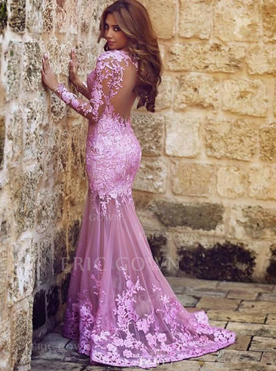 Trumpet/Mermaid Scoop Neck Sweep Train Prom Dresses With Appliques (018145987)