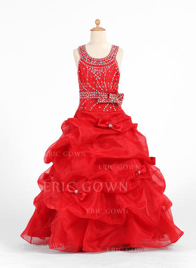 Newest Scoop Neck Ball Gown Flower Girl Dresses Floor-length Organza/Charmeuse Sleeveless (010007425)