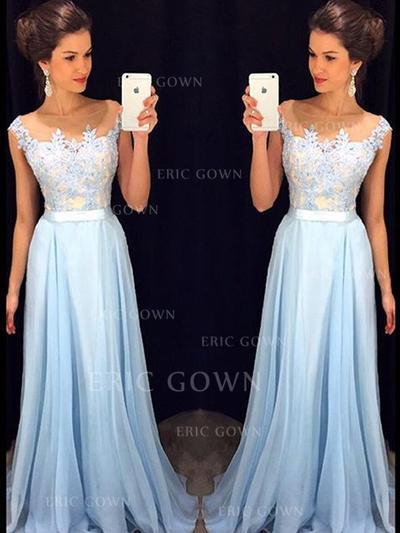 A-Line/Princess Scoop Neck Floor-Length Evening Dresses (017145406)