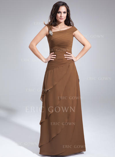 A-Line/Princess Chiffon Sleeveless Off-the-Shoulder Floor-Length Zipper Up at Side Mother of the Bride Dresses (008213116)