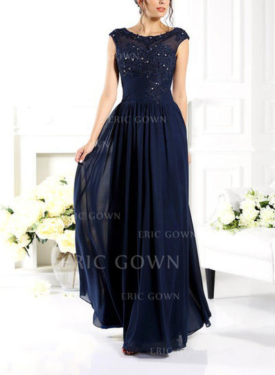Modern Chiffon Evening Dresses A-Line/Princess Floor-Length Scoop Neck Sleeveless (017210884)