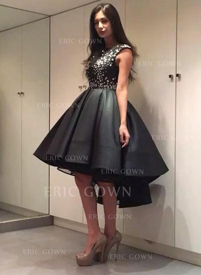 A-Line/Princess Scoop Neck Tea-Length Satin Cocktail Dresses With Beading (016145302)