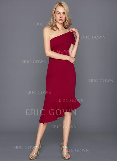 Sheath/Column One-Shoulder Asymmetrical Stretch Crepe Cocktail Dress With Cascading Ruffles (016124562)