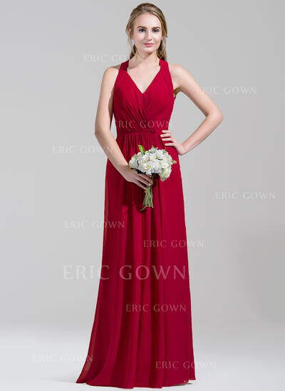 A-Line V-neck Floor-Length Chiffon Bridesmaid Dress With Ruffle (007072792)