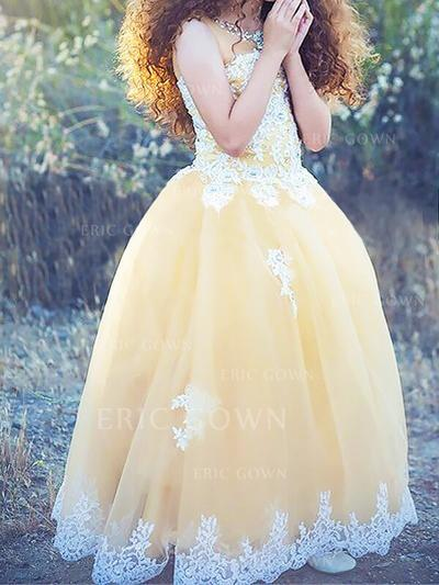 Glamorous Scoop Neck Ball Gown Flower Girl Dresses Floor-length Tulle Sleeveless (010145259)
