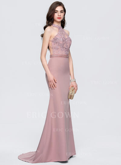 Trumpet/Mermaid Scoop Neck Sweep Train Stretch Crepe Evening Dress With Lace Beading (017164968)
