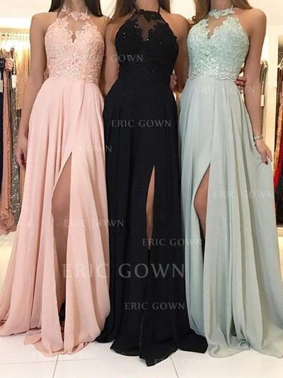 Delicate Chiffon Evening Dresses A-Line/Princess Sweep Train Halter Sleeveless (017213628)