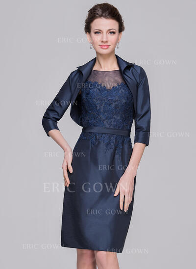 Sheath/Column Scoop Neck Knee-Length Taffeta Mother of the Bride Dress With Appliques Lace (008058403)