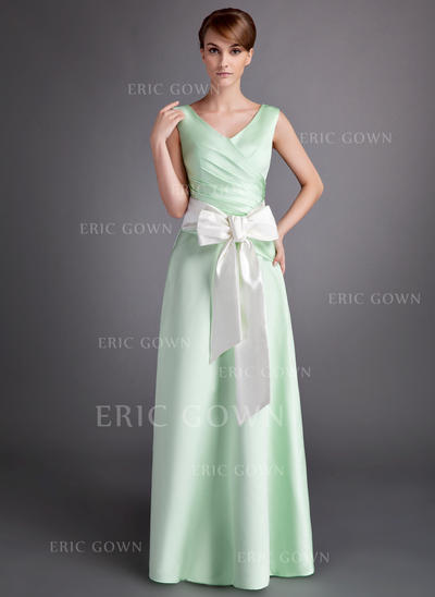 A-Line/Princess Satin Bridesmaid Dresses Ruffle Sash Bow(s) V-neck Sleeveless Floor-Length (007001060)