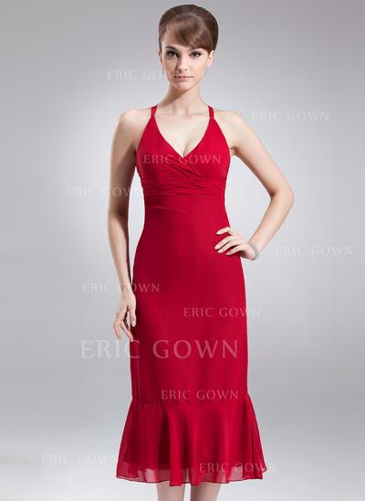 Empire Chiffon Bridesmaid Dresses Ruffle Bow(s) V-neck Sleeveless Tea-Length (007004277)