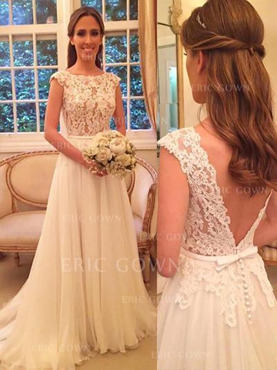 Gorgeous Scoop A-Line/Princess Wedding Dresses Sweep Train Chiffon (002210847)