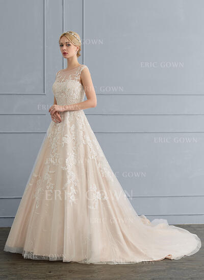 Ball-Gown/Princess Illusion Chapel Train Tulle Lace Wedding Dress With Beading Sequins (002117038)