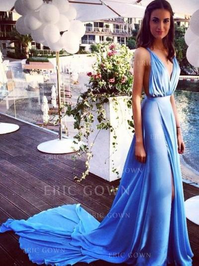 A-Line/Princess Court Train Prom Dresses V-neck Chiffon Sleeveless (018145883)