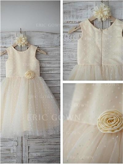 A-Line/Princess Scoop Neck Tea-length With Flower(s) Satin/Tulle Flower Girl Dresses (010212029)
