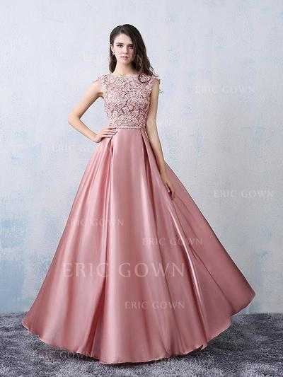 A-Line/Princess Satin Prom Dresses Beading Bow(s) Scoop Neck Sleeveless Floor-Length (018196617)