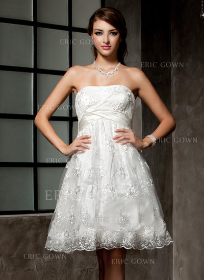 Empire Strapless Knee-Length Wedding Dresses With Ruffle Beading (002000221)