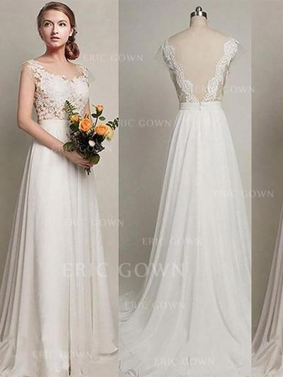 Fashion Scoop A-Line/Princess Wedding Dresses Sweep Train Chiffon (002210844)