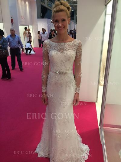 Delicate Scoop Sheath/Column Wedding Dresses Floor-Length Sweep Train Tulle Long Sleeves (002148035)