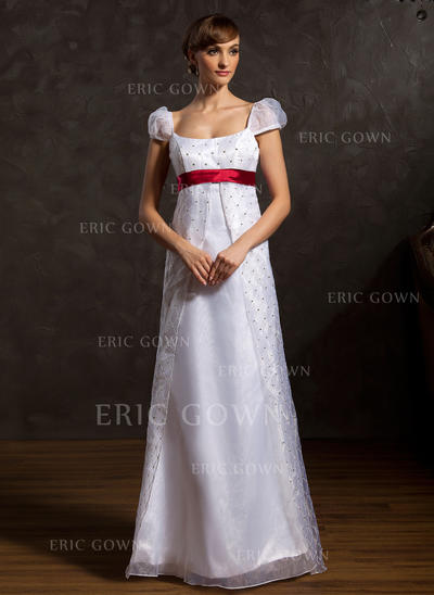 Fashion Scoop A-Line/Princess Wedding Dresses Floor-Length Organza Sleeveless (002196891)