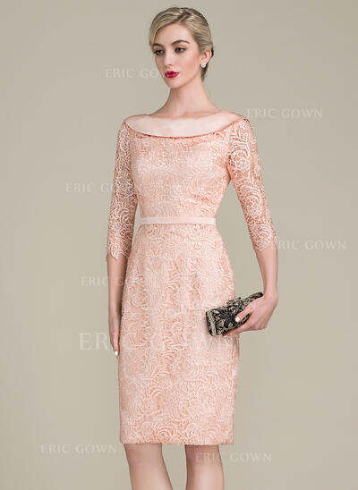 Sheath/Column Off-the-Shoulder Knee-Length Lace Mother of the Bride Dress With Bow(s) (008107649)