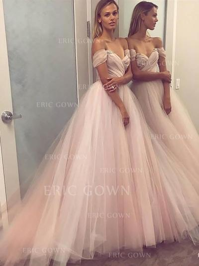 A-Line/Princess Off-the-Shoulder Floor-Length Tulle Evening Dresses With Beading Sequins (017216988)