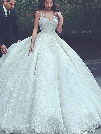 Ball-Gown V-neck Court Train Wedding Dresses With Lace (002217901)