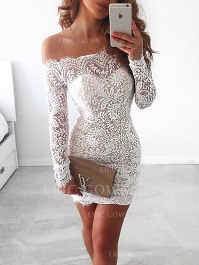 Sheath/Column Off-the-Shoulder Short/Mini Homecoming Dresses With Lace (022216328)