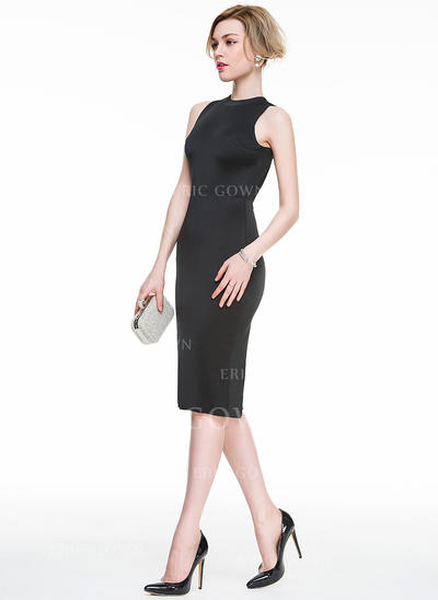 Sheath/Column Scoop Neck Knee-Length Jersey Cocktail Dress (016083898)