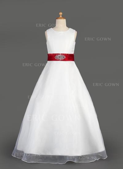 Modern Scoop Neck A-Line/Princess Flower Girl Dresses Floor-length Organza/Satin Sleeveless (010014643)