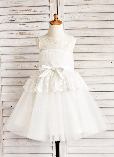A-Line/Princess Tea-length Flower Girl Dress - Tulle/Lace Sleeveless Scoop Neck With Bow(s) (010091409)