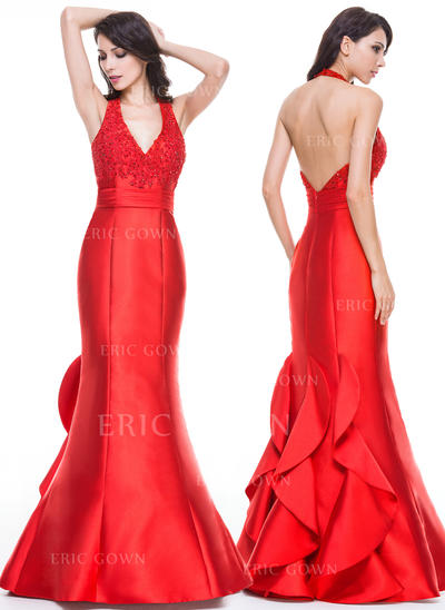 Trumpet/Mermaid Halter Floor-Length Evening Dresses With Ruffle Beading Appliques Sequins (017056520)